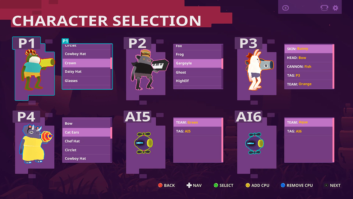 Bomsy character selection screenshot